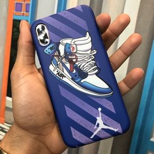 Other - Blue Nike Air Jordan Off White 1s iPhone Case